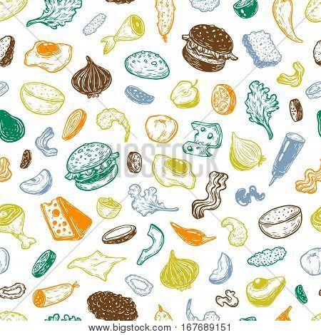 Burger And Ingredients, Pattern.