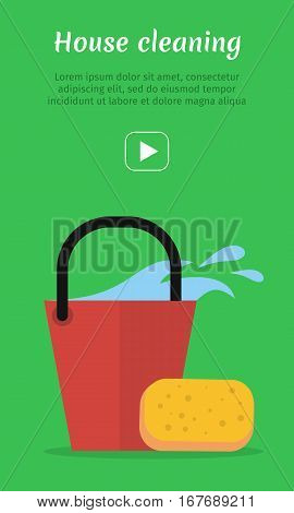 Cleaning service web banner. Bucket with water and sponge icon. Sign symbols of clean in the house. House washing equipment. Office and hotel cleaning. Housekeeping. Cleaning business concept. Vector
