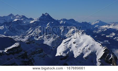 Dents du Midi in winter. Mountains in Vaud Canton Switzerland. View from Glacier des Diablerets.