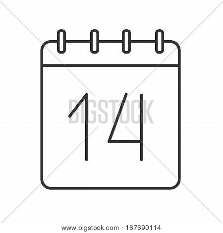 February 14 linear icon. Calendar thin line illustration. Valentine's Day date contour symbol. Vector isolated outline drawing