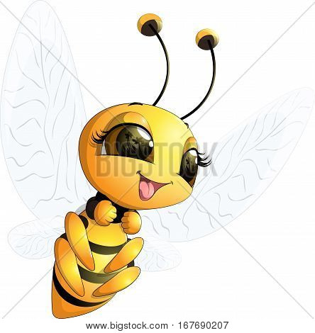 Beautiful cute little bee on a white background