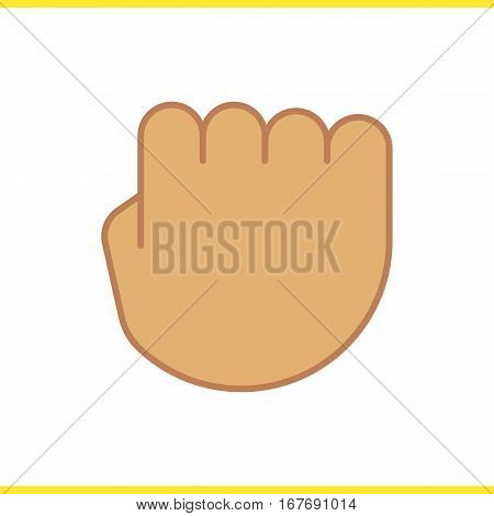 Squeezed fist icon. Clenched hand gesture color symbol. Isolated vector illustration