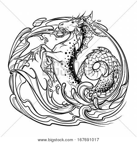 Zodiac sign Capricorn. Fantastic sea creature with body of a goat and a fish tail Decorative water swirls. Vintage art nouveau style concept art for horoscope, tattoo or colouring book. EPS10 vector