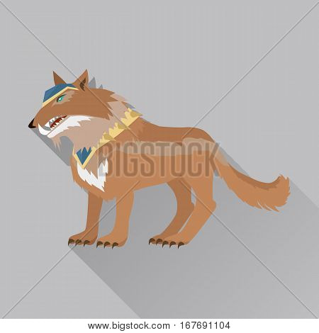 Game wolf avatar icon isolated on white background. Steady strong great dog wolf. Stylized fantasy character. War concept. Part of series of game objects in flat design. Vector illustration.
