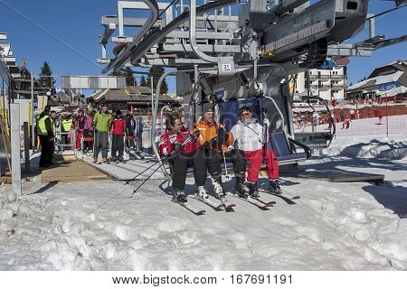 Kopaonik Serbia - February 05 2011: Ski lift on the mountain with skiers