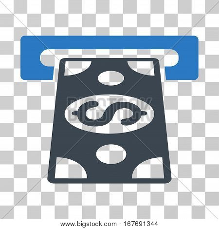 Cash Withdraw icon. Vector illustration style is flat iconic bicolor symbol smooth blue colors transparent background. Designed for web and software interfaces.