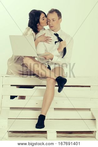 Businessman And Woman With Laptop