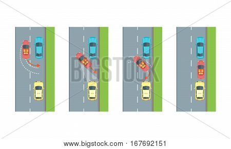 Car Reverse Parking Correct Scheme with Arrow and Empty Place for Drive. Vector illustration