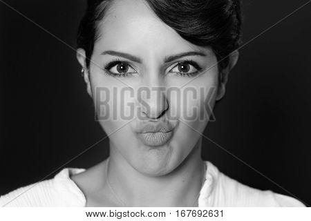Beautiful young woman facial expression