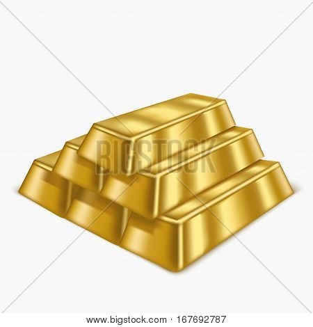 Realistic Gold Bars or Bullion Treasure Symbol of Rich, Reserve and Luxury. Vector illustration