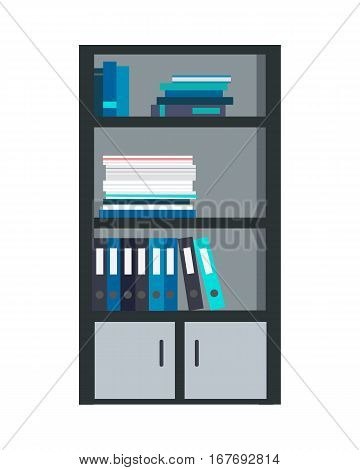Large bookcase with different books isolated. Folders and documents ordered in bookcase. Modern office interior. Books on bookshelves. Library scene bookcase in flat design style. Vector illustration