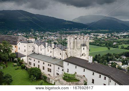 Hohensalzburg Castle In Salzburg Austria At Rainy Cold Day