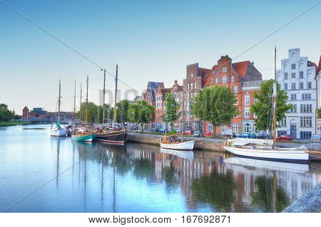 Old Town Luebeck At The River Trave