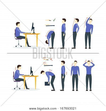 Office Syndrome Correct or Incorrect Positions for Exercises in Gymnastics. Health Care Concept. Vector illustration