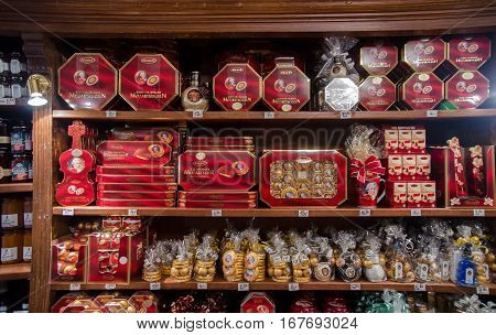 SALZBURG AUSTRIA - JUNE 12 2012: Mozart traditional candies at gift sweets store in Salzburg. Austria