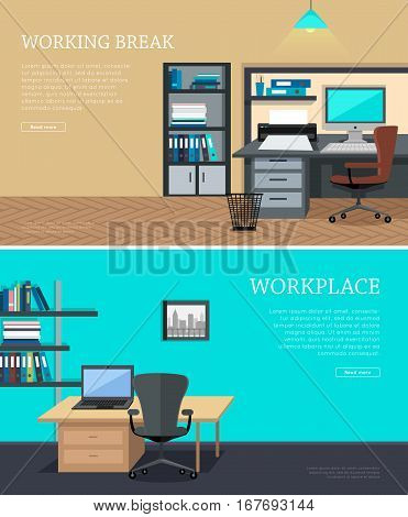 Set of workplace and working break horizontal web banners in flat style. Bright office interior design with modern furniture, plants and urban view from window. Comfortable place for work and rest.