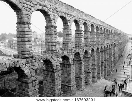 Monochrome Picture of the Aqueduct of Segovia, Breathtaking Famous Landmark of Segovia, Spain