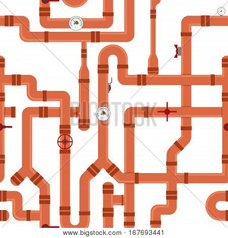 Sewer Pipe Connector and Valve Background Pattern Industrial Elements Different Shapes. Vector illustration