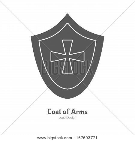 Medieval heraldic shield. Single logo in modern black simple style isolated on white background. Medieval theme silhouette symbol. Simple medieval pictogram, logotype template. Vector illustration.