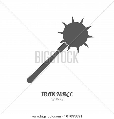 Medieval iron mace, morning star. Single logo in black simple style isolated on white background. Medieval theme silhouette symbol. Simple medieval pictogram, logotype template. Vector illustration.