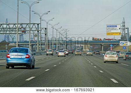 Moscow region Russia - March 20 2016: Cars driving on the Moscow Ring Road
