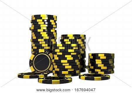 Isolated Casino Chips 3D Render Illustration. Casino Games Chips on White Background.