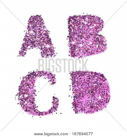 Letters A, B, C, D of purple glitter sparkle on white background