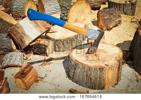 Ax Stuck In A Log Of Wood On A Background Of Chopped Wood