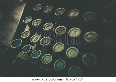 Rusty Old Typewriter Closeup Photo. Vintage Typewriter