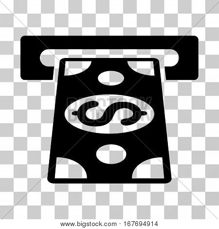 Cash Withdraw icon. Vector illustration style is flat iconic symbol black color transparent background. Designed for web and software interfaces.