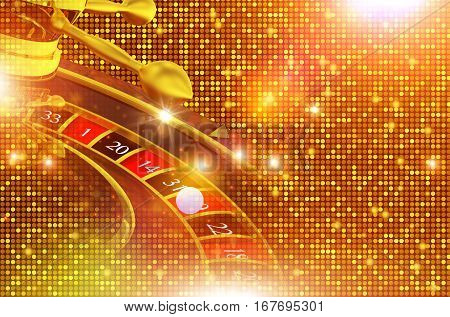 Shiny Golden Roulette Backdrop Illustration with 3D Rendered Elements. Blinking Casino Background.