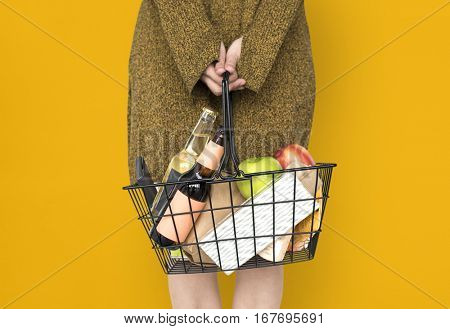 Woman Carrying Basket Household Shopping