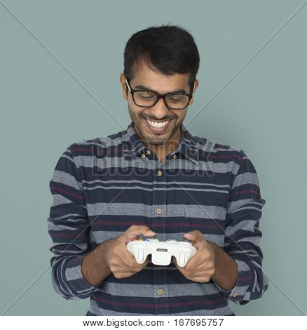 Indian Man Game Controller Console Cheerful Concept