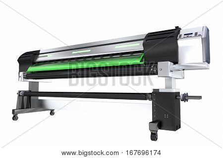 Wide Format Ink Printer Isolated on White Background. 3D Rendered Printer Plotter Illustration.