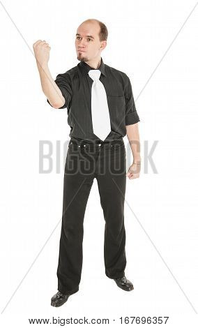 Angry Man Threaten With His Fist Isolated