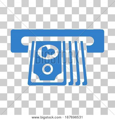 ATM Insert Cash icon. Vector illustration style is flat iconic symbol cobalt color transparent background. Designed for web and software interfaces.