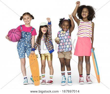 Children Girlfriends Smiling Happiness Friendship Togetherness Studio Portrait