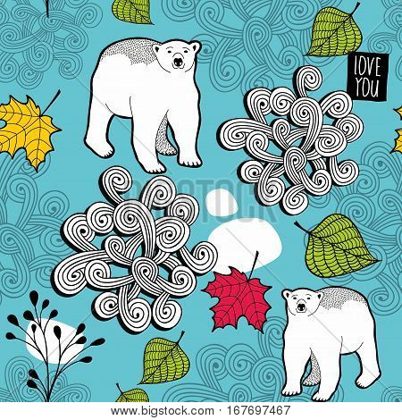 White bears seamless pattern with autumn leaves. Vector illustration with nature background.