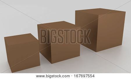 Concept Of 3D Dark Brown Boxes On A White Background. Rendered Illustration.