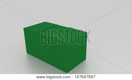 3D Green Cardboard Box, Ready To Wrap Things In It On White Background. Rendered Illustration. Copy