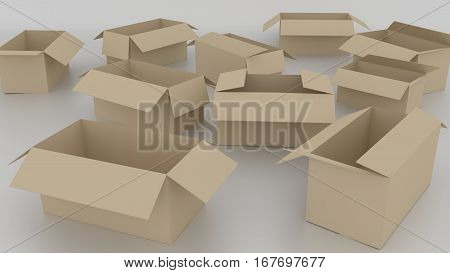 3D Empty Brown Cardboard Boxes Opened, Ready To Wrap Things In It On White Background. Rendered Illu