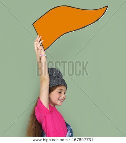Little Girl Holding Board Concept