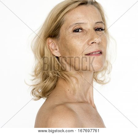 Woman Beared Chest Naked Portrait
