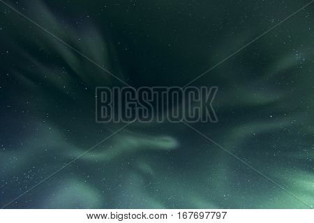 The northern lights dancing in the sky