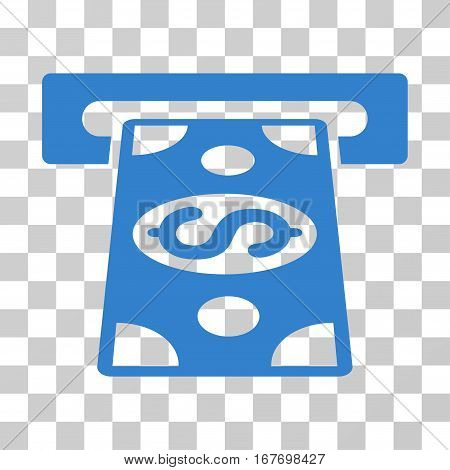 Cash Withdraw icon. Vector illustration style is flat iconic symbol cobalt color transparent background. Designed for web and software interfaces.