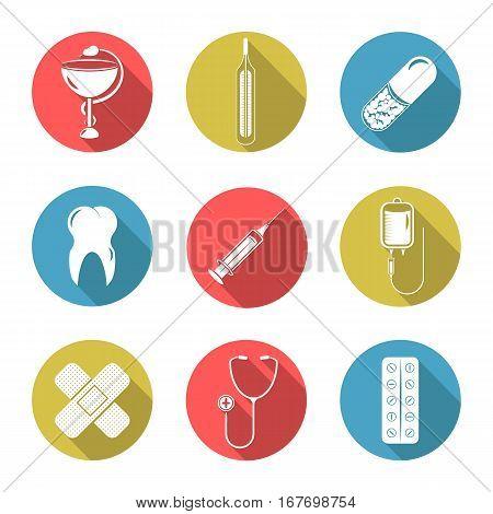 Set of nine icons on a theme medicine.
