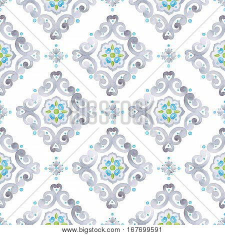 Watercolor filigree seamless pattern moroccan tile ornament. Delicate pastel openwork lace pattern. Soft gray blue and green revival tracery design