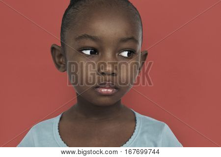 African Child Girl Portrait Emotions Expression Concept
