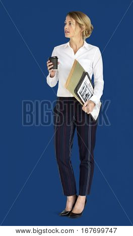 Caucasian Business Lady Coffee Folders Concept
