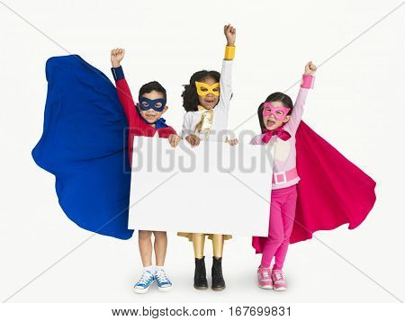 Superhero Kid Smiling Arms Raised Banner Copy Space